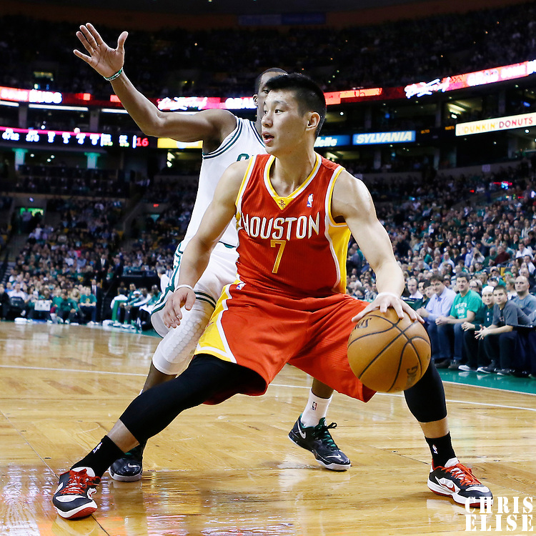11 January 2013: Houston Rockets point guard Jeremy Lin (7) looks to pass the ball during the Boston Celtics 103-91 victory over the Houston Rockets at the TD Garden, Boston, Massachusetts, USA.