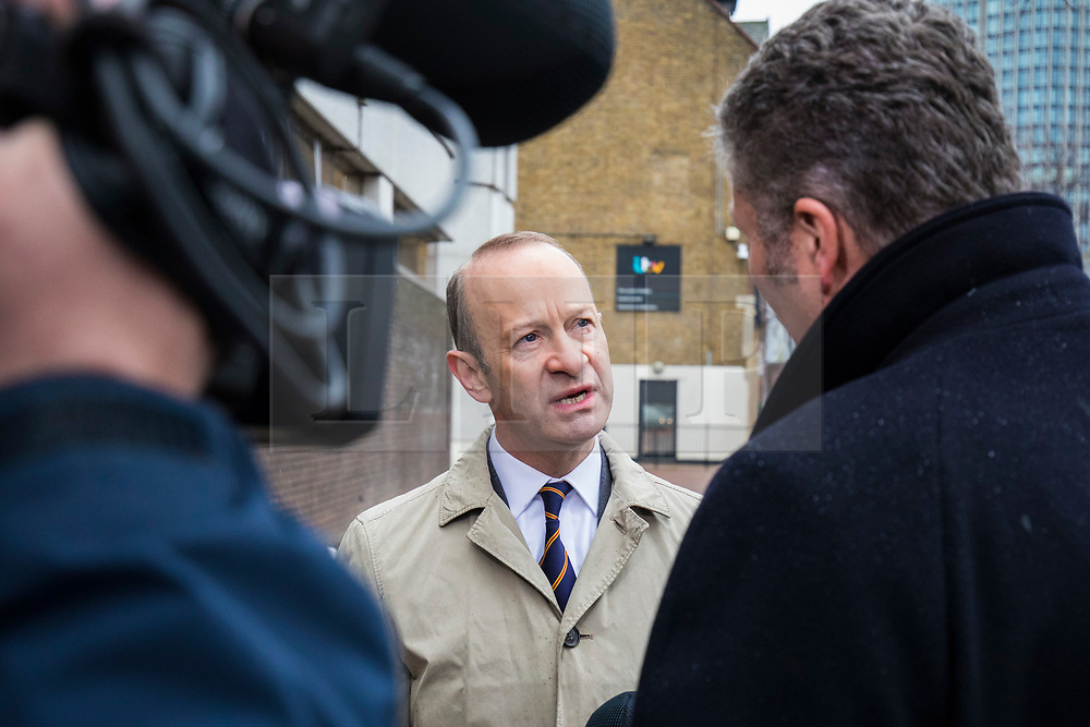 © Licensed to London News Pictures. 21/01/2018. London, UK. UKIP leader Henry Bolton is interviewed outside the ITV Studios on Southbank. Bolton faces a vote of no confidence from UKIP party members after controversy surrounding his relationship with Jo Marney. Photo credit: Rob Pinney/LNP
