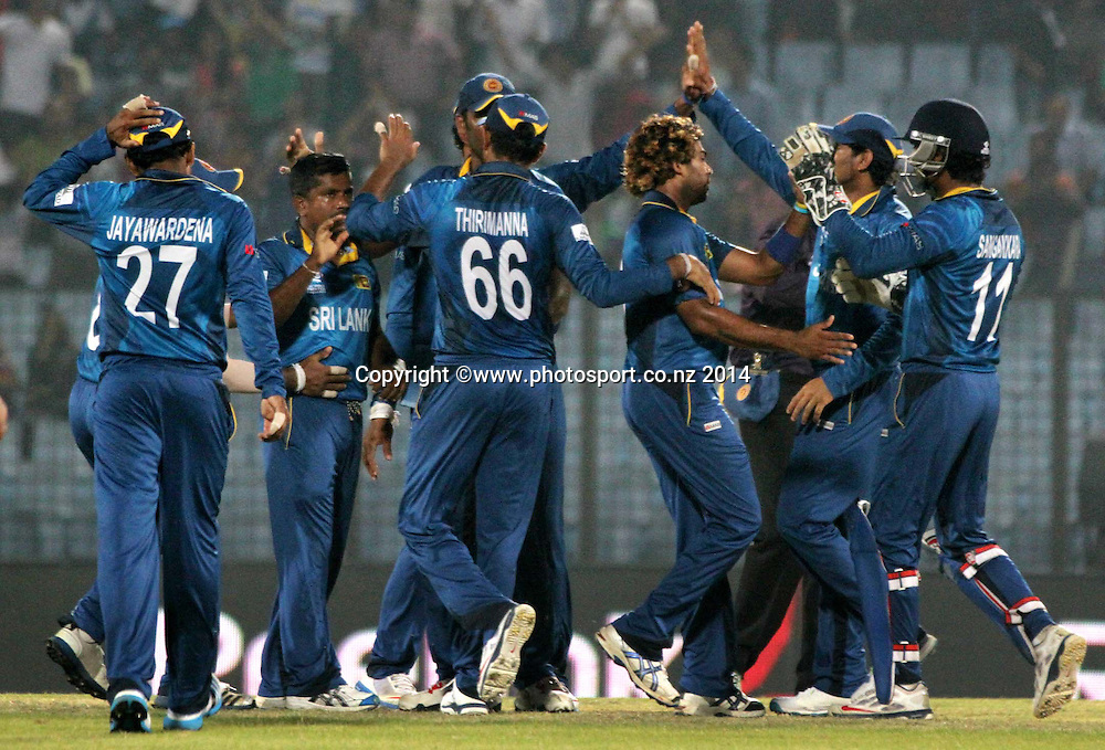 Sri Lanka celebrate their win over New Zealand Black Caps - ICC World Twenty20 cricket, Zahur Ahmed Chowdhury Stadium, Chittagong, Bangladesh. New Zealand v Sri Lanka, 31 March 2014. Photo: www.photosport.co.nz