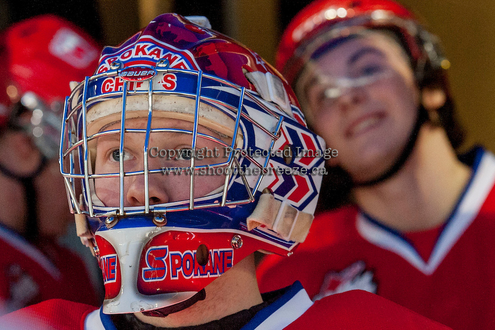 KELOWNA, CANADA - MARCH 5: Eric Williams #35 of the Spokane Chiefs stands in the tunnel waiting to enter the ice against the Kelowna Rockets on March 5, 2014 at Prospera Place in Kelowna, British Columbia, Canada.   (Photo by Marissa Baecker/Getty Images)  *** Local Caption *** Eric Williams;
