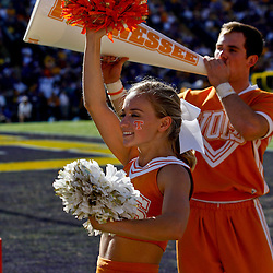 Oct 2, 2010; Baton Rouge, LA, USA; A Tennessee Volunteers cheerleader on the sideline during the first half against the LSU Tigers at Tiger Stadium. LSU defeated Tennessee 16-14.  Mandatory Credit: Derick E. Hingle