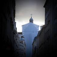 France, Paris. 4th district. le Marais. saint Paul church and Sevigne street