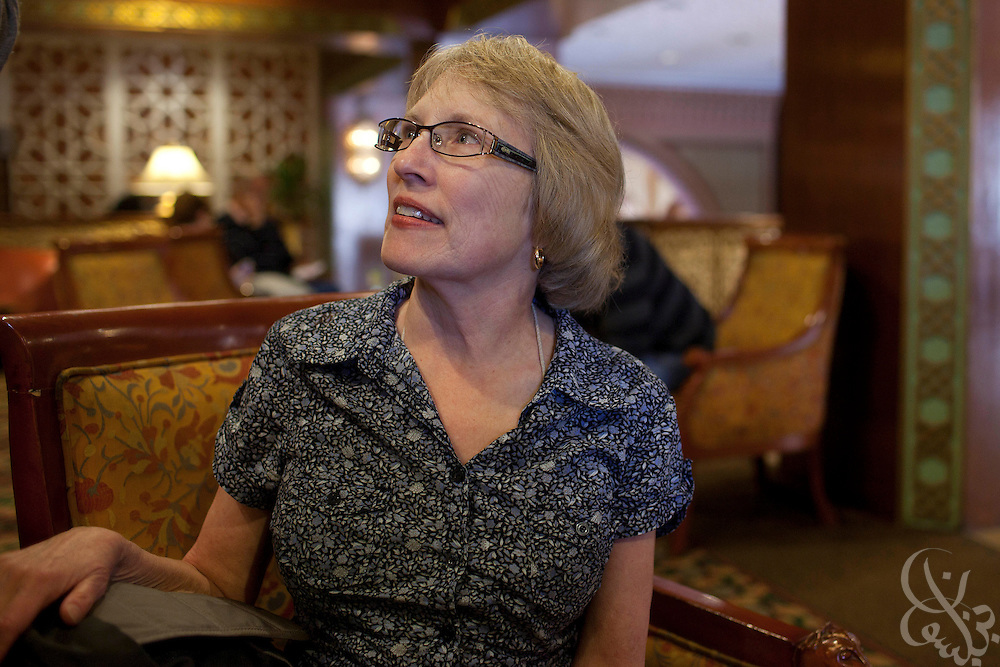 American tourist Pam Rivers from Atlanta, GA, waits in the Marriott Hotel for confirmation of an available flight out of Egypt January 30, 2011 in the Zamalek district of Cairo, Egypt.  Tourists and expatriates living in Egypt are growing increasingly fearful as the ongoing unrest has continued for nearly a week.
