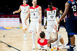 Karsten Tadda of Germany, Daniel Theis of Germany, Dennis Schroder of Germany during basketball match between National Teams of Germany and France at Day 10 in Round of 16 of the FIBA EuroBasket 2017 at Sinan Erdem Dome in Istanbul, Turkey on September 9, 2017. Photo by Vid Ponikvar / Sportida