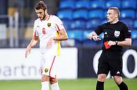 Fotball , 10. september 2013 , Euro U21 qual,<br /> Norge - Makedonia<br /> Norway - Macedonia<br /> Aleksandar Damchevski , Makedonia får rødt kort av dommer John Beaton , SCO