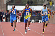 Apr 27, 2018; Philadelphia, PA, USA; Willie Gault (1) wins the Masters age 55 and older 100m in 11.84 during the 124th Penn Relays at Franklin Field. From left:  Don McGee (2), Gaul and  Lonnie Hooker (3).
