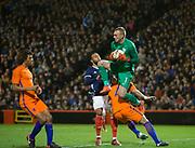 9th November 2017, Pittodrie Stadium, Aberdeen, Scotland; International Football Friendly, Scotland versus Netherlands; Scotland's Jasper Cillessen grabs a cross under pressure from Scotland's Matt Phillips