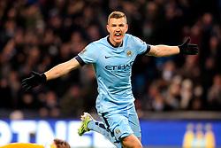 Manchester City's Edin Dzeko celebrates after scoring his sides third goal  - Photo mandatory by-line: Matt McNulty/JMP - Mobile: 07966 386802 - 21/02/2015 - SPORT - Football - Manchester - Etihad Stadium - Manchester City v Newcastle United - Barclays Premier League