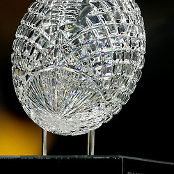 A detailed view of the BCS Crystal football that sits atop of the National Championship Trophy.