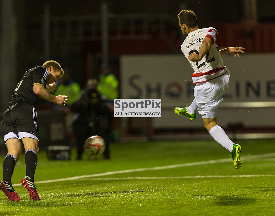 Tony Andreu scores during the SPL clash between Hamilton Accies and Aberdeen (c) ROSS EAGLESHAM | SportPix.co.uk
