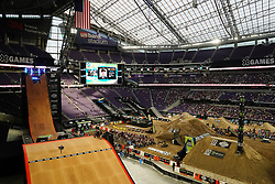 July 20, 2018 - Minneapolis, MN, USA - Fans watch as riders competed in the Moto X QuarterPipe High Air Final as BMX riders practice on the Real Cost BMX Big Air ramp Friday, July 20, 2018 at U.S. Bank Stadium in Minneapolis, Minn. (Credit Image: © Anthony Souffle/TNS via ZUMA Wire)