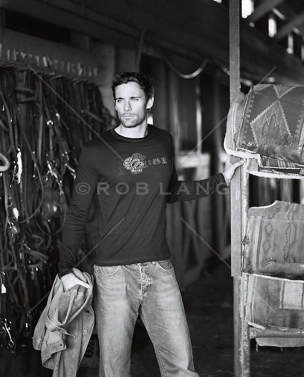 Man in a horse stable