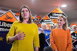 © Licensed to London News Pictures. 10/12/2019. Bath, Bath and North East Somerset, UK. General Election 2019; JO SWINSON (left), leader of the Liberal Democrats Party, with Lib Dem candidate for Bath WERA HOBHOUSE (right), at a rally with Liberal Democrat activists in Bath at the Bailbrook House Hotel, followed by national canvassing in the constituency. She discussed the findings that Brexit is costing the British public £350 million a week, money that could be invested in the NHS. The Bath MP before the election was called was the Lib Dems Wera Hobhouse. Photo credit: Simon Chapman/LNP.