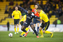 Falkirk's Botti Biabi and  Livingston Declan Gallagher.<br /> Half time : Livingston 0 v 1 Falkirk, Scottish Championship played13/12/2014 at The Energy Assets Arena.