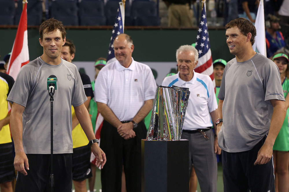 March 13, 2014, Indian Wells, California: <br /> Bob and Mike Bryan defeat Alexander Peya and Bruno Soares to win the 2014 BNP Paribas Open doubles championship. <br /> (Photo by Billie Weiss/BNP Paribas Open)