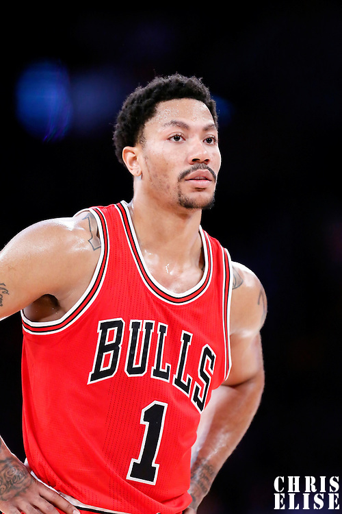 29 January 2015: Chicago Bulls guard Derrick Rose (1) is seen during the Los Angeles Lakers 123-118 2OT victory over the Chicago Bulls, at the Staples Center, Los Angeles, California, USA.