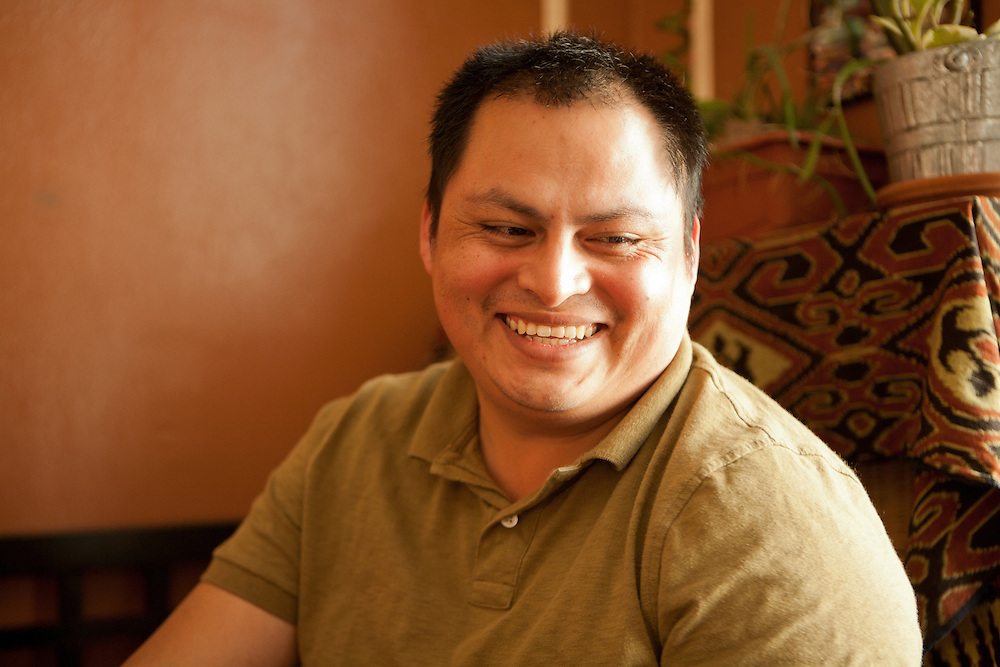 Irwin Sanchez, a native speaker, and teacher, of Nahuatl, in his living room.