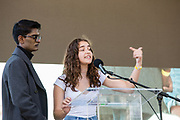 20 September 2019 - New York, NY.  Thousands of students as well as adults gathered in New York for the Global Climate Strike, meeting in Foley Square near the Federal Government buildings and New York's City Hall, and marching downtown to Battery Park, where Swedish climate activist and spokesperson Greta Thunberg addressed the crowd. Kevin Patel and Isabella Fallahi, both of whom have illnesses traceable to environmental issues, address the crowd.