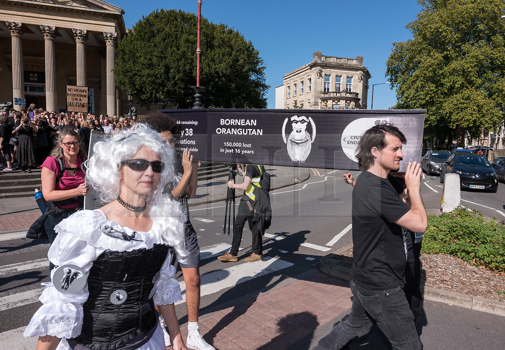 "© Licensed to London News Pictures. 20/09/2019. Bristol, UK. Wildlife filmmakers with ""Film Strike for Climate"" take part in the Global Climate Strike on 20 September 2019. Bristol is an international centre for wildlife filmmaking, and Film Strike for Climate is a movement within the film industry to mobilise cast, crew and industry member to strike on September 20th to demand radical and immediate international climate action. The Bristol event, with Bristol Youth Strike 4 Climate, is part of a UK wide and international day of protest as students and school pupils and adult workers across the world miss classes and strike to protest a lack of governments' action to combat the climate crisis, ahead of the 2019 Climate Action Summit in New York on 23 September with plans to address the global climate emergency. The international school strike for climate movement was started by Swedish student Greta Thunberg. Photo credit: Simon Chapman/LNP."