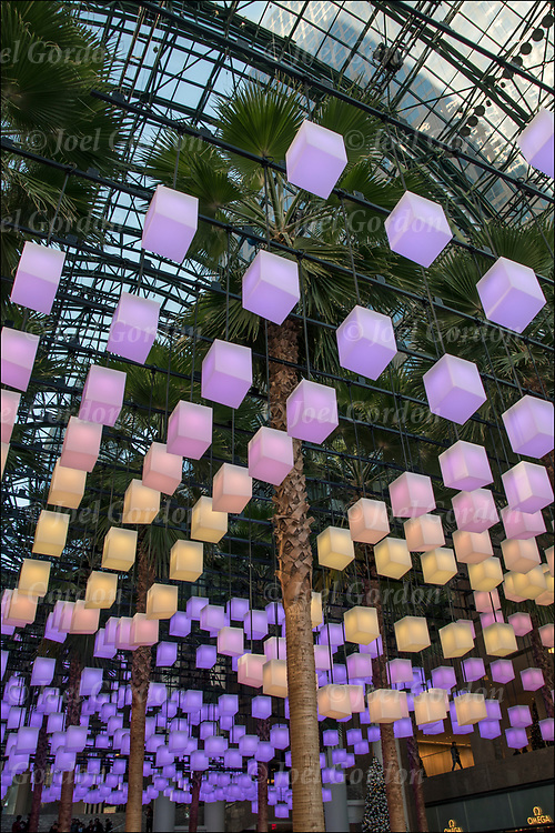 Luminaries is a spectacular lighting display with 650 lanterns that follows the glass enclosed topography of the Winter Garden at Brookfield Place.<br />