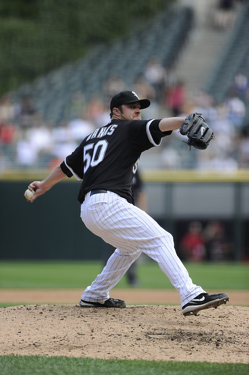 CHICAGO - JULY 08:  John Danks #50 of the Chicago White Sox pitches against the Los Angeles Angels of Anaheim on July 8, 2010 at U.S. Cellular Field in Chicago, Illinois.  Danks pitched a complete game shutout.  The White Sox defeated the Angels 1-0.  (Photo by Ron Vesely)