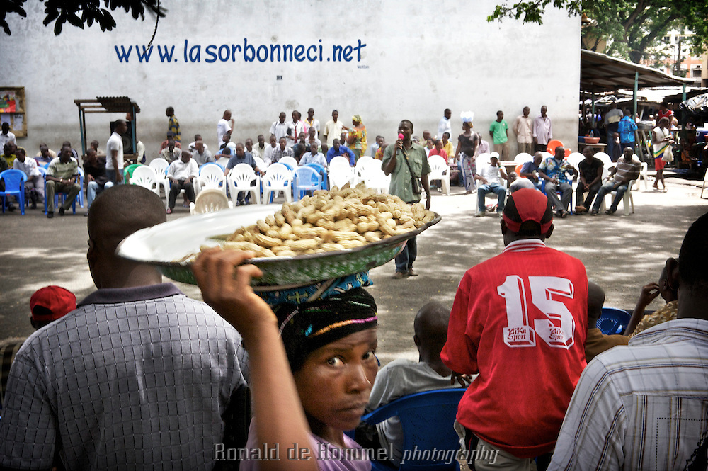 La Sorbonne on the 'Plateau' the business center of Abidjan is not a university but a speakers' corner. Nationalist supporters of the current president can reach an audience of civil servants and office clerks during lunch time. The propaganda is interspersed by sales pitches about natural medicines and libido enhancing products.