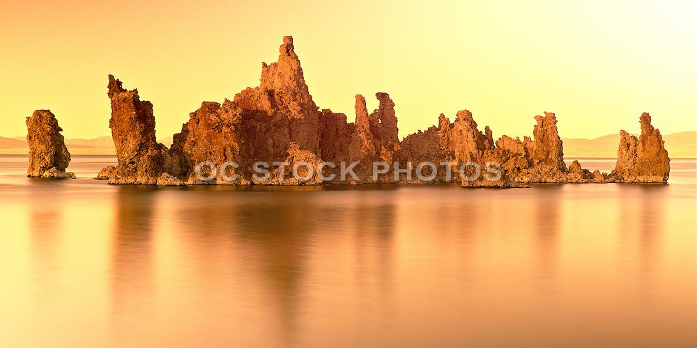 Golden Sunset of Limestone Formations at Mono Lake California