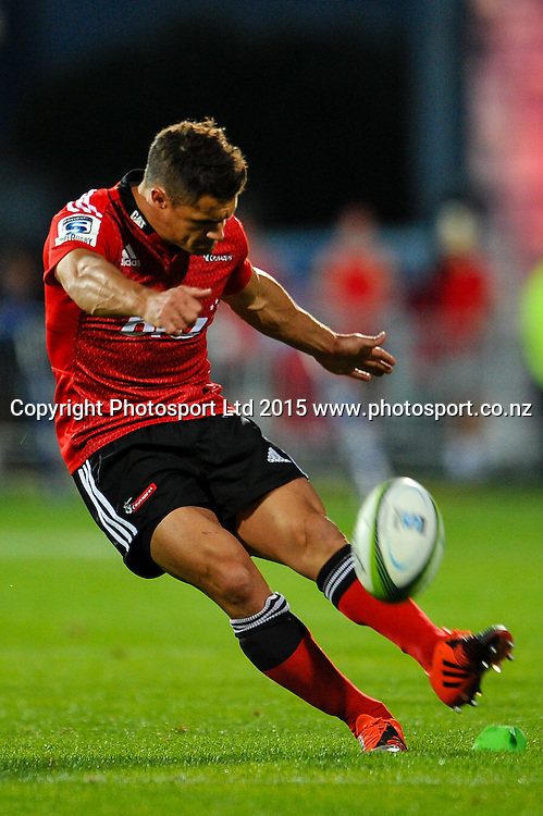Dan Carter of the Crusaders during the Super Rugby match, Crusaders v Cheetahs, 21 March 2015 at AMI Stadium, Christchurch. Copyright Photo: John Davidson / www.Photosport.co.nz