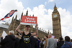 © Licensed to London News Pictures. 15/06/2016. LONDON, UK.  Vote Leave supporters on Westminster Brige outside parliament in Westminster. Nigel Farage led a pro-Brexit flotilla of fishing vessels along the River Thames to Westminster today, urging people to vote leave in the European Referendum.  Photo credit: Vickie Flores/LNP