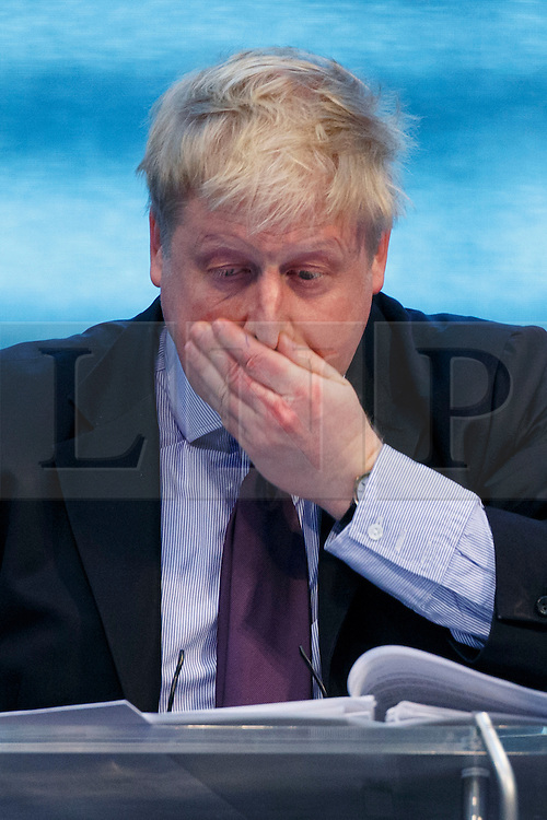 © Licensed to London News Pictures. 22/02/2016. London, UK. Mayor of London Boris Johnson answers questions during Mayor's Question Time at City Hall in London on Monday, 22 February 2016. Photo credit: Tolga Akmen/LNP