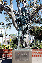 Statue of Carlos III, near Olivera Street, Los Angeles, California, United States of America