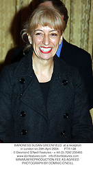 BARONESS SUSAN GREENFIELD  at a reception in London on 29th April 2004.PTR 138