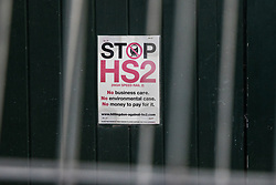 Harefield, UK. 17 January, 2020. A Stop HS2 poster on a garage due to be demolished during works for the HS2 high-speed rail link in the Colne Valley.