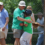 Delight as a run is scored during the Norwalk Little League baseball 'Champions' team V Greenwich in the Challenger Division  Recognition Day competition. The day acknowledged the many talents of the great players on the Challenger Division teams. The division has weekly games and practices for kids with special needs. Challenger division are held throughout the country.  Broad River Fields, Norwalk, Connecticut. USA. 2nd June 2013. Photo Tim Clayton
