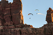 Ultalight aircraft flying near Monument Valley