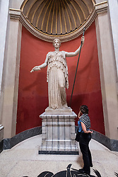 Statue in the round Room at the Vatican Museum in Rome, Italy