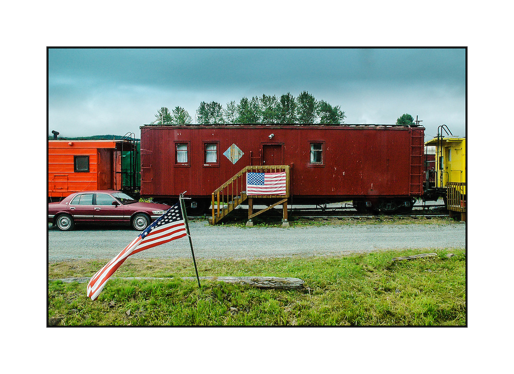 """A group of box cars serve as """"Home Sweet Home"""" for its residents in a remote part of Washington State."""
