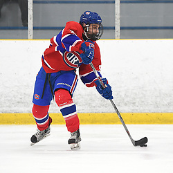 TORONTO, ON - JANUARY 5: Paul Violo #92 of the Toronto Jr. Canadiens shoots the puck in the second period on January 5, 2019 at Westwood Arena in Toronto, Ontario, Canada.<br /> (Photo by Andy Corneau / OJHL Images)