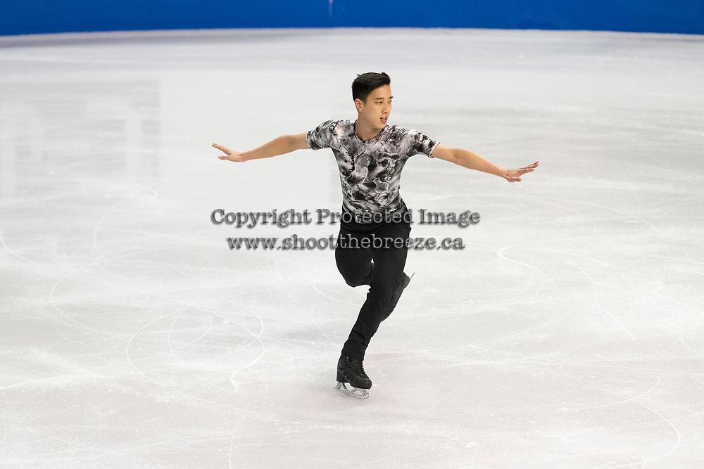 KELOWNA, BC - OCTOBER 26: Malaysian figure skater Julian Zhi Jie Yee competes during the men's long program / free skate of Skate Canada International held at Prospera Place on October 26, 2019 in Kelowna, Canada. (Photo by Marissa Baecker/Shoot the Breeze)