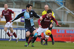 WYCOMBES JOE JACOBSON BATTLES WITH RICKY HOLMES NORTHAMPTON TOWN, Northampton Town v Wycombe Wanderers, Sixfields Stadium, Sky Bet League 2, Saturday 20th Febuary 2016