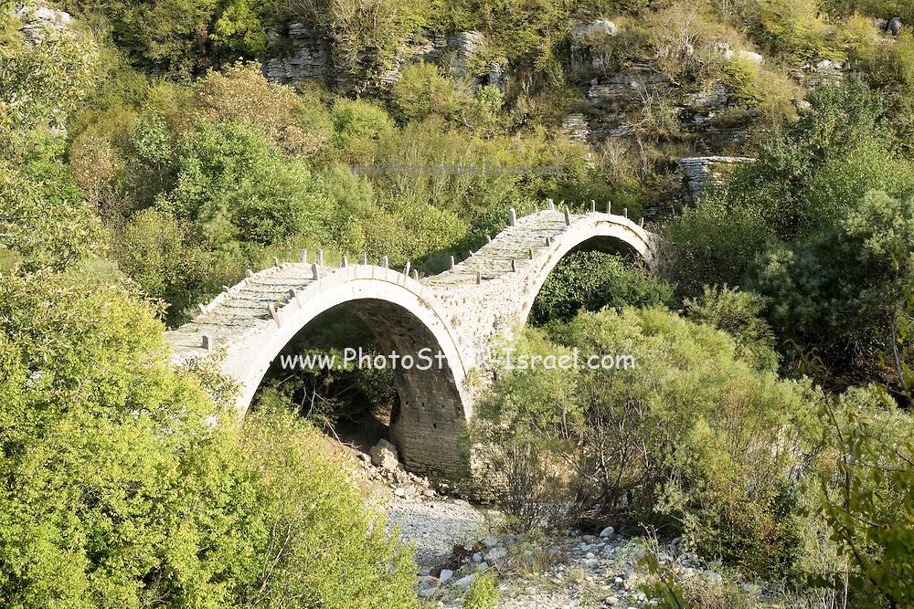 Ancient stone bridge Zagori, Pindus mountains, Epirus, Greece.