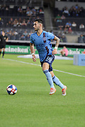 Valentin Castellanos of New York City FC with the ball against Columbus SC during a MLS soccer match, Wednesday, Aug. 21, 2019, in New York (Errol Anderson/Image of Sport)