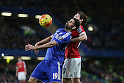 Chelsea's Diego Costa and Daley Blind of Manchester United during the Barclays Premier League match between Chelsea and Manchester United at Stamford Bridge, London, England on 7 February 2016. Photo by Ellie Hoad.