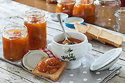 Fresh homemade apricots jam and rusks for breakfast.