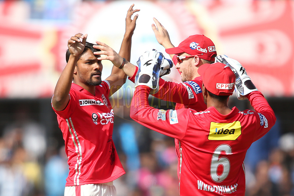 Sandeep Sharma of Kings XI Punjab is congratulated by David Miller of Kings XI Punjab for getting Mayank Agarwal of Rising Pune Supergiant wicket during match 4 of the Vivo 2017 Indian Premier League between the Kings XI Punjab and the Rising Pune Supergiant held at the Holkar Cricket Stadium in Indore, India on the 8th April 2017<br /> <br /> Photo by Shaun Roy - IPL - Sportzpics