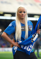 OLDHAM, ENGLAND - Saturday, November 10, 2012: An Oldham Athletic cheerleader before the Football League One match against Tranmere Rovers at Boundary Park. (Pic by David Rawcliffe/Propaganda)