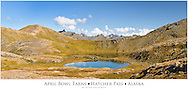 Composite panorama of two of three tarns at April Bowl in Summit Lake State Recreation Site at Hatcher Pass in Southcentral Alaska. Summer. Afternoon.