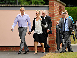 © Licensed to London News Pictures. 25/07/2013. Bulford, Wiltshire, UK.  Sergeant Danny Nightingale (light blue shirt) and his wife Sally at the Military Court Centre in Bulford Camp to hear his sentence.  Sergeant Nightingale is a former SAS sniper who has been convicted on a retrial for illegal possession of a Glock handgun and ammunition, which was found in his possessions in the UK.  His previous case was quashed on appeal.  25 July 2013.<br /> Photo credit : Simon Chapman/LNP