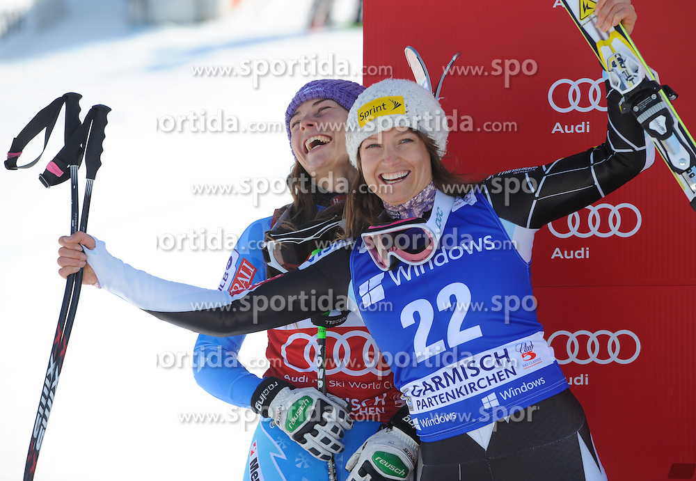 01.03.2013, Kandahar, Garmisch Partenkirchen, AUT, FIS Weltcup Ski Alpin, Super G, Damen, Podium, im Bild Tina Maze (SLO, 2. Platz), Julia Mancuso (USA, 2. Platz) // 2nd placed Tina Maze of Slovenia and Julia Mancuso of the USA celebrate on Podium during the ladies SuperG of the FIS Ski Alpine World Cup at the Kandahar course, Garmisch Partenkirchen, Germany on 2013/03/01. EXPA Pictures © 2013, PhotoCredit: EXPA/ Johann Groder