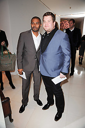 Left to right, NOEL CLARKE and JAMES CORDEN at a party to celebrate Lancome's 10th anniversary of sponsorship of the BAFTA's in association with Harper's Bazaar magazine held at St.Martin's Lane Hotel, London on 19th February 2010.